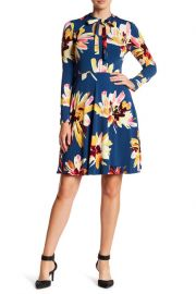 Maggy London Floral Bow Neck Dress at Nordstrom Rack