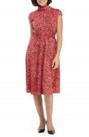 Maggy London Floral Roll Neck A-Line Dress   Nordstrom at Nordstrom
