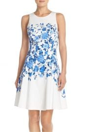 Maggy London Floral Sateen Fit & Flare Dress at Nordstrom