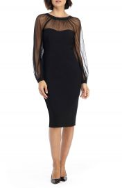 Maggy London Illusion Lace Long Sleeve Cocktail Dress   Nordstrom at Nordstrom