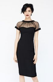 Maggy London Illusion Yoke Crepe Sheath Dress in Black x at Nordstrom