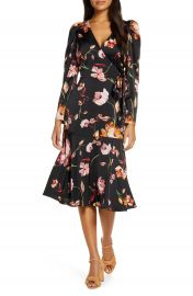 Maggy London Long Sleeve Faux Wrap Dress   Nordstrom at Nordstrom