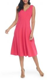 Maggy London Seamed Vneck Fit Flare Dress at Nordstrom