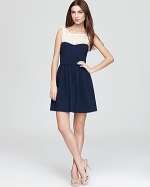 Magnolias dress in navy at Bloomingdales