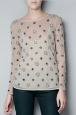Magnolias embellished top from Zara at Zara