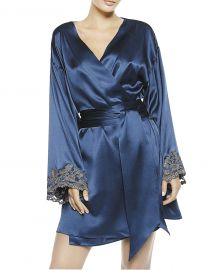 Maison Blue Silk Satin Short Robe by La Perla at Forzieri