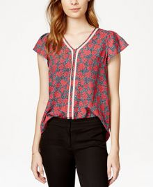 Maison Jules Crochet-Trim Printed Flutter-Sleeve Top Only at Macys at Macys