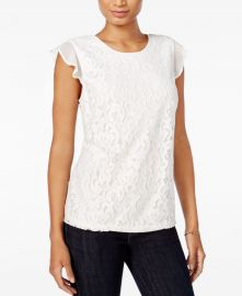 Maison Jules Lace Flutter-Sleeve Top at Macys