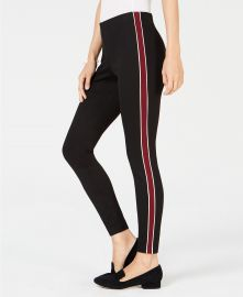Maison Jules Pull-On Striped Skinny Pants at Macys