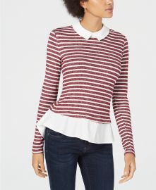 Maison Jules Striped Layered-Look Top at Macys