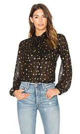 Maison Scotch Sheer Star Tie Neck Blouse in Black  amp  Gold from Revolve com at Revolve