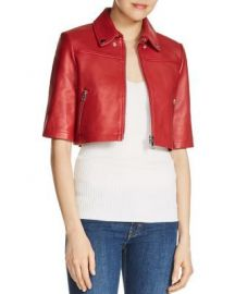 Maje Brittany Cropped Leather Jacket Women - Bloomingdale s at Bloomingdales