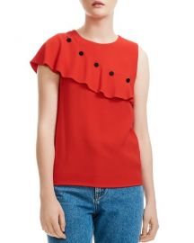 Maje Lorena Asymmetric-Ruffle Crepe Top at Bloomingdales
