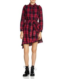 Maje Randra Plaid Asymmetric-Hem Dress at Bloomingdales