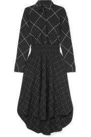 Maje - Asymmetric checked twill midi dress at Net A Porter