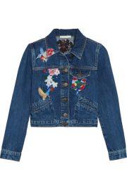 Maje   Cropped embroidered denim jacket at Net A Porter