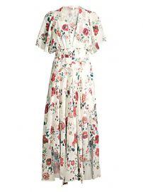 Maje - Floral Smocked Waist Handkerchief Midi Dress at Saks Fifth Avenue