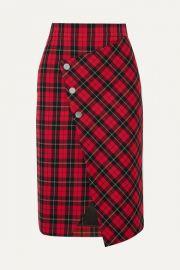 Maje - Janty asymmetric tartan twill wrap skirt at Net A Porter