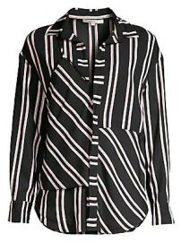 Maje - Larencia Striped Trompe L  039 oeil Collared Shirt at Saks Fifth Avenue