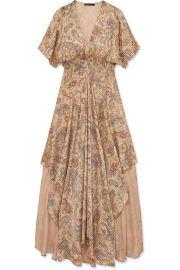 Maje - Rachel asymmetric printed devor  -satin dress at Net A Porter