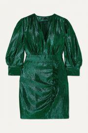 Maje - Rexy ruffled lam   mini dress at Net A Porter