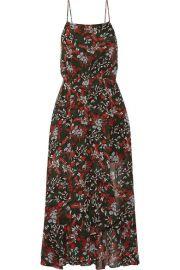 Maje - Ruffle-trimmed printed chiffon midi dress at Net A Porter