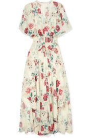 Maje - Shirred floral-print georgette midi dress at Net A Porter