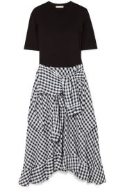 Maje - Stretch-jersey and cotton-blend gingham dress at Net A Porter
