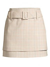 Maje - Tiered Check Belted A-Line Skirt at Saks Fifth Avenue