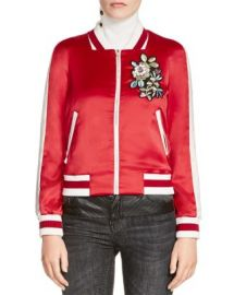 Maje Bob Embroidered Satin Bomber Jacket at Bloomingdales