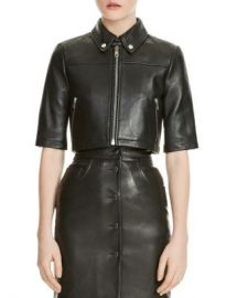 Maje Brittany Cropped Leather Shirt Jacket Women - Bloomingdale s at Bloomingdales