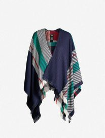 Maje Emmy jacquard stripe wool-blend poncho at Selfridges