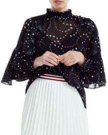 Maje Letro Sheer Star-Print Blouse Women - Bloomingdale s at Bloomingdales