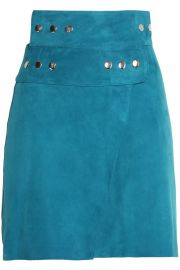 Maje Studded Suede Wrap Skirt at The Outnet