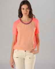 Maje Top - Color Block with Chain Collar at Bloomingdales