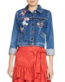 Maje Vivo Embroidered Denim Jacket at Bloomingdales