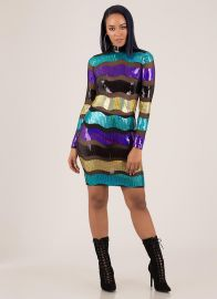 Making Waves Sequined Striped Mesh Dress by GoJane at GoJane