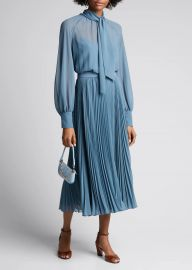 Malizia Pleated Chiffon Tie-Neck Dress at Bergdorf Goodman