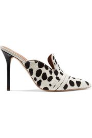 Malone Souliers - Hayley 100 leather-trimmed animal-print calf hair mules at Net A Porter