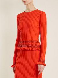 Malou ruffled-cuff ribbed-knit sweater at Matches