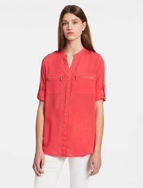 Mandarin Collar Roll-up Sleeve Blouse in Watermelon at Calvin Klein