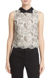 Manie Bow Collar Embellished Crop Top at Nordstrom Rack