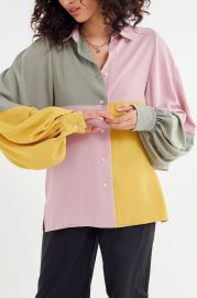 Many Miles Colorblock Button-Down Shirt by Ghospell at Urban Outfitters at Urban Outfitters
