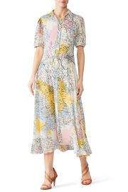 Map Button-Down Midi Dress by Derek Lam 10 Crosby at Rent The Runway