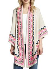 Mara Hoffman Pattern-Trim Knit Shawl with Eye at Neiman Marcus