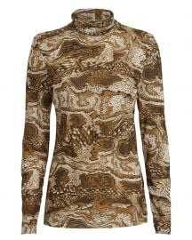 Marble Print Mesh Turtleneck Top at Intermix