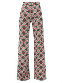 Marble-print high-rise satin-faille trousers at Matches