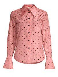 Marc Jacobs - Polka Dot Button-Down Silk Blouse at Saks Fifth Avenue