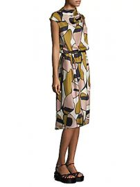 Marc Jacobs - Printed Silk Drape-Neck Dress at Saks Off 5th