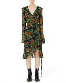 Marc Jacobs Bell-Sleeve Ruffled Cherry-Print Wrap Dress at Neiman Marcus